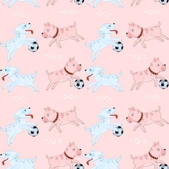 Cute dog playing football seamless pattern.