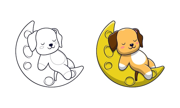 Cute dog playing on the moon cartoon coloring pages for kids