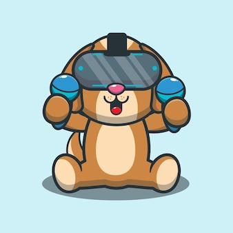 Cute dog playing virtual reality game