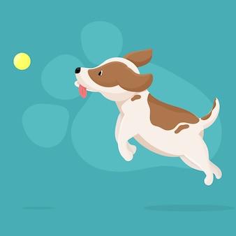 ボールで遊ぶかわいい犬。