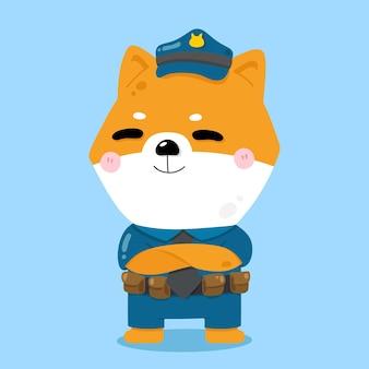 Симпатичные собаки полицейский мультфильм животных иллюстрации