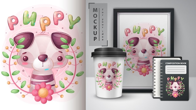 Cute dog  poster and merchandising vector eps 10