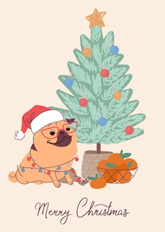 クリスマスカードのかわいい犬のパグ