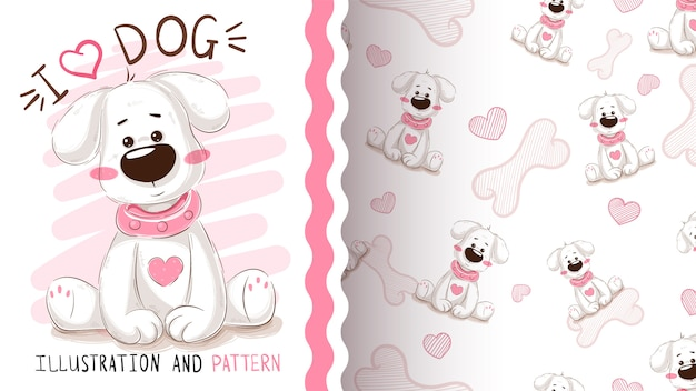 Cute dog, puppy - seamless pattern