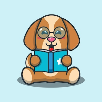 Cute dog reading a book cartoon illustration