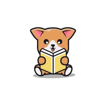 Cute dog reading book cartoon illustration