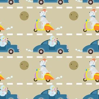 Cute dog ride on vehicle seamless pattern.