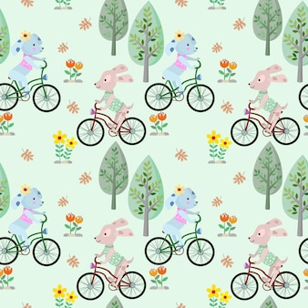 Cute dog riding bicycle in the park seamless pattern.