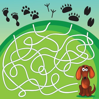かわいい犬のゲーム-犬が自分の足跡を見つけるのを手伝ってください