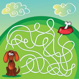 Игра лабиринт милой собаки - помоги собаке найти свою кость