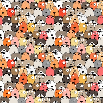 Cute dog seamless pattern background