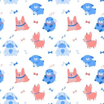 Cute dog seamless pattern