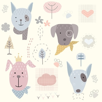 Cute dog seamless pattern