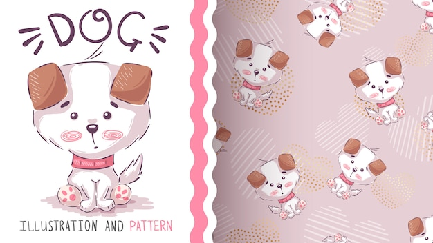 Cute dog seat - seamless pattern