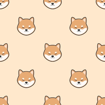 Cute dog shiba inu cartoon doodle seamless pattern animal