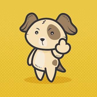 Симпатичная собака, показывающая на хуй символ