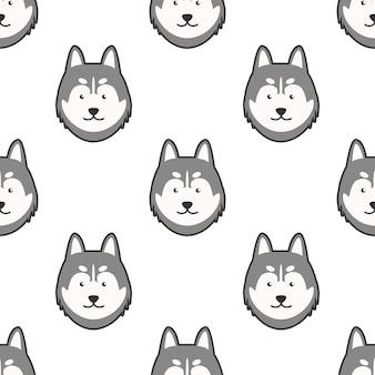 귀여운 강아지 시베리안 허스키 만화 낙서 원활한 패턴