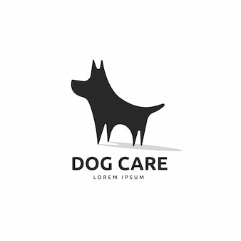 Cute dog silhouette logo