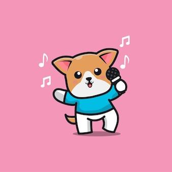 Cute dog sing a song cartoon character illustration