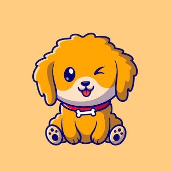 かわいい犬の座っている漫画ベクトルアイコンイラスト。動物の性質のアイコンの概念は、プレミアムベクトルを分離しました。フラット漫画スタイル