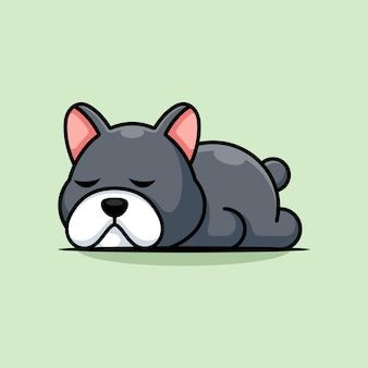 Cute dog sleeping cartoon illustration