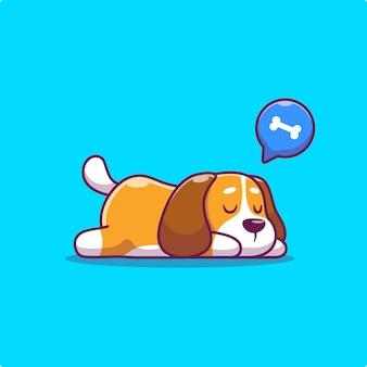잠자는 귀여운 강아지