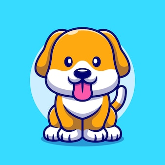 Cute dog sticking her tongue out cartoon icon illustration.
