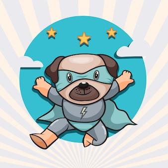귀여운 강아지 슈퍼 영웅 만화 그림입니다. 동물 영웅 개념 고립 된 평면 만화