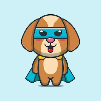 Cute dog super hero cartoon illustration
