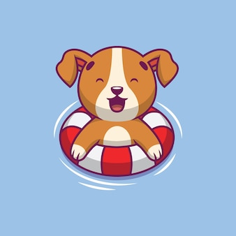 Cute dog swimming cartoon illustration