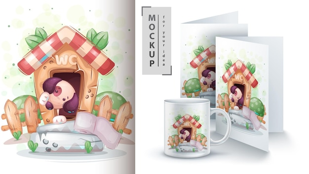 Cute dog on toilet poster and merchandising. vector eps 10