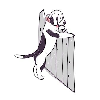 柵を乗り越えて逃げようとするかわいい犬。白い背景で隔離の面白いいたずら犬や子犬。家畜やペットの不従順な行動。カラフルな手描きのベクトル図