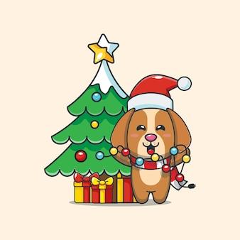 귀여운 강아지는 크리스마스 조명을 고치고 싶어합니다 귀여운 크리스마스 만화 그림