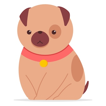칼라를 입고 귀여운 강아지. 만화 재미있는 강아지 캐릭터 흰색 배경에 고립입니다.
