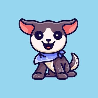 캐릭터 아이콘 로고 스티커 및 일러스트레이션을 위한 반다나를 착용한 귀여운 강아지