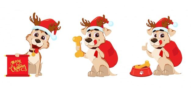 Cute dog wearing santa claus hat
