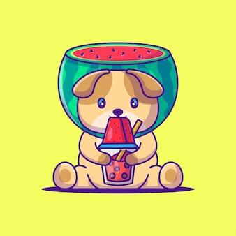 Cute dog wearing watermelon costume cartoon illustration. animal flat cartoon style concept