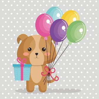 Симпатичная собака с воздушными шарами air kawaii поздравительная открытка Premium векторы
