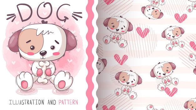 Cute dog with bone -seamless pattern