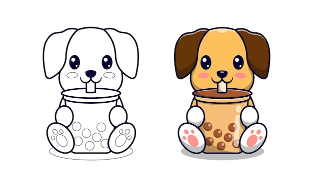 Cute dog with bubble tea cartoon coloring pages for kids