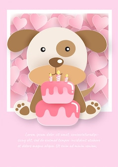 Cute dog with cake for birthday card .