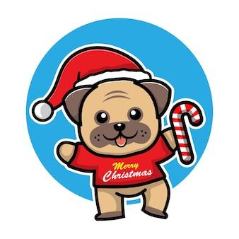 Cute dog with christmas costume cartoon character animal christmas concept illustration