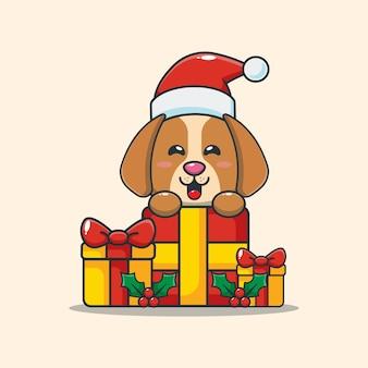 크리스마스 선물을 가진 귀여운 강아지 귀여운 크리스마스 만화 일러스트 레이션