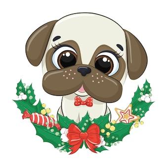 Милая собака с рождественским венком.