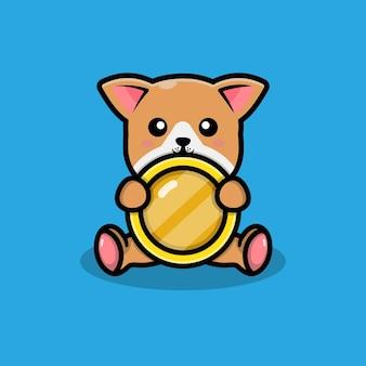 동전 일러스트와 함께 귀여운 강아지