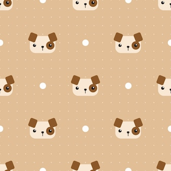 Cute dog with dot cartoon seamless pattern