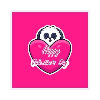 해피 발렌타인 데이 인사말 카드, 평면 귀여운 강아지.