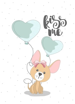 Cute dog with heart shaped ballons. kiss me lettering
