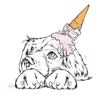 頭にアイスクリームをのせたかわいい犬。