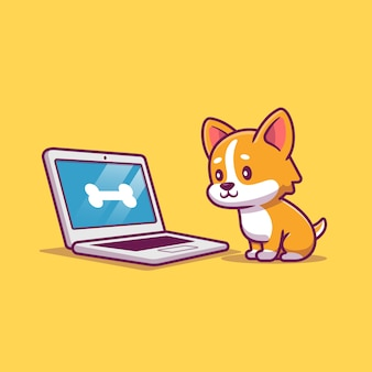 Cute dog with laptop cartoon   icon illustration. animal technology icon concept isolated  . flat cartoon style